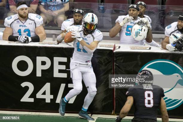 Philadelphia Soul WR Ryan McDaniel makes a catch during the fourth quarter of the Arena Football League game between the Philadelphia Soul and...