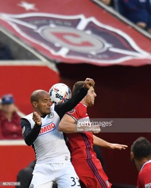 Philadelphia Union defender Fabinho and Chicago Fire defender Matt Polster head the ball during a game between the Philadelphia Union and the Chicago...