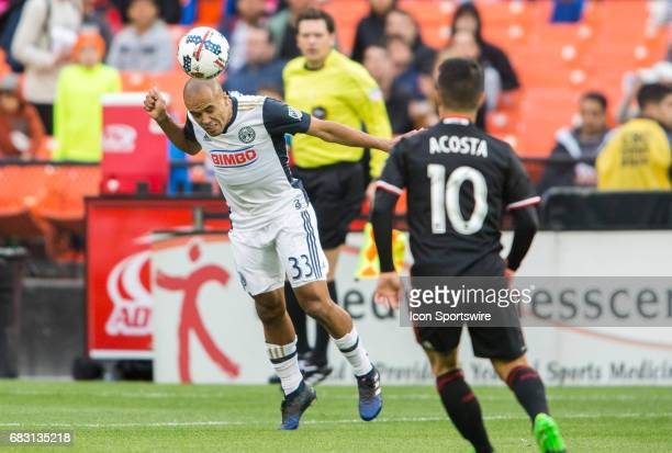 Philadelphia Union defender Fabinho heads the ball clear during a MLS match between DC United and the Philadelphia Union on May 13 at RFK Stadium in...