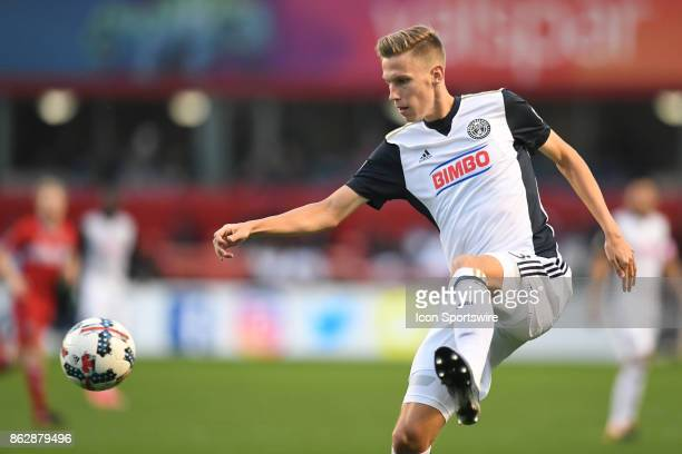 Philadelphia Union defender Jack Elliott controls the ball during a game between the Philadelphia Union and the Chicago Fire on October 15 at Toyota...