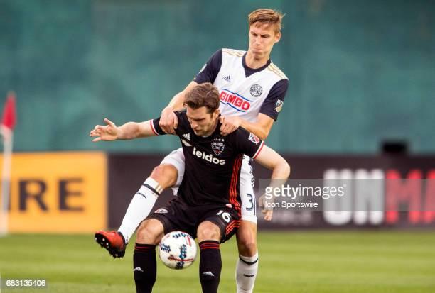 Philadelphia Union defender Jack Elliott defends against DC United forward Patrick Mullins during a MLS match between DC United and the Philadelphia...