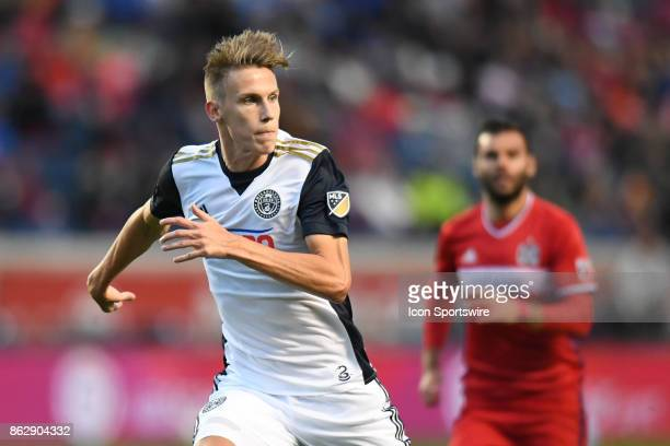Philadelphia Union defender Jack Elliott in action during a game between the Philadelphia Union and the Chicago Fire on October 15 at Toyota Park in...