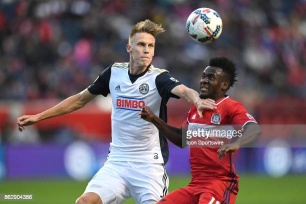 Philadelphia Union defender Jack Elliott looks to control the ball against Chicago Fire forward David Accam during a game between the Philadelphia...