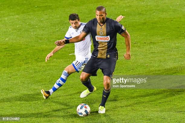 Philadelphia Union defender Oguchi Onyewu being chased by Montreal Impact midfielder Belrim Dzemaili during the Philadelphia Union versus the...