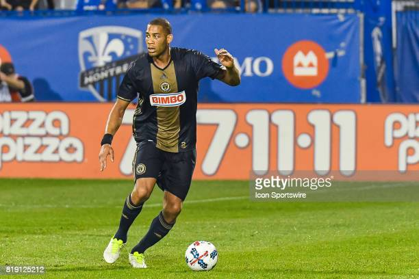 Philadelphia Union defender Oguchi Onyewu looking on his side while controlling the ball during the Philadelphia Union versus the Montreal Impact...