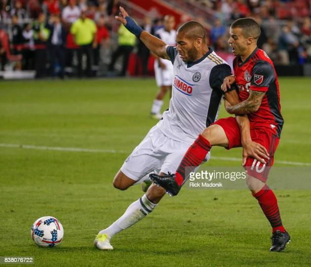 Philadelphia Union defender Oguchi Onyewu says no to Toronto FC forward Sebastian Giovinco near the end of the game Toronto FC vs Philadelphia Union...