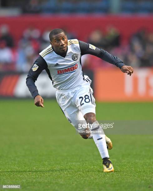 Philadelphia Union defender Ray Gaddis in action during a game between the Philadelphia Union and the Chicago Fire on October 15 at Toyota Park in...
