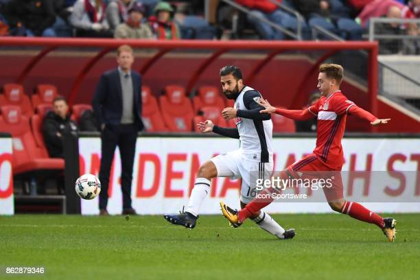 Philadelphia Union defender Richie Marquez passes the ball during a game between the Philadelphia Union and the Chicago Fire on October 15 at Toyota...