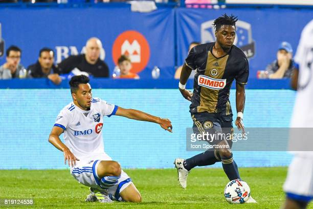 Philadelphia Union defender Warren Creavalle getting away with the ball leaving Montreal Impact forward David Choiniere behind on the ground during...
