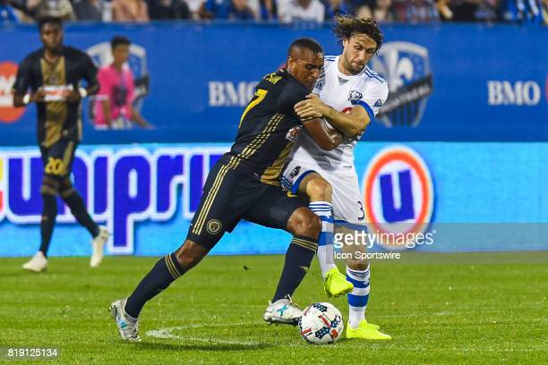 Philadelphia Union forward CJ Sapong trying to steal the ball from Montreal Impact midfielder Marco Donadel during the Philadelphia Union versus the...