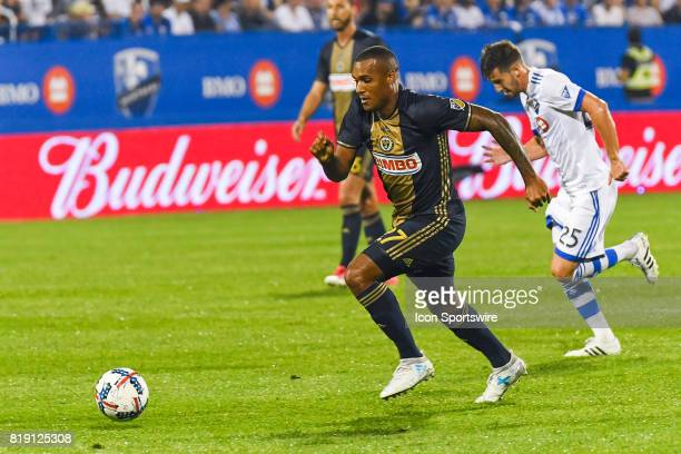 Philadelphia Union forward Jay Simpson running after the ball during the Philadelphia Union versus the Montreal Impact game on July 19 at Stade...