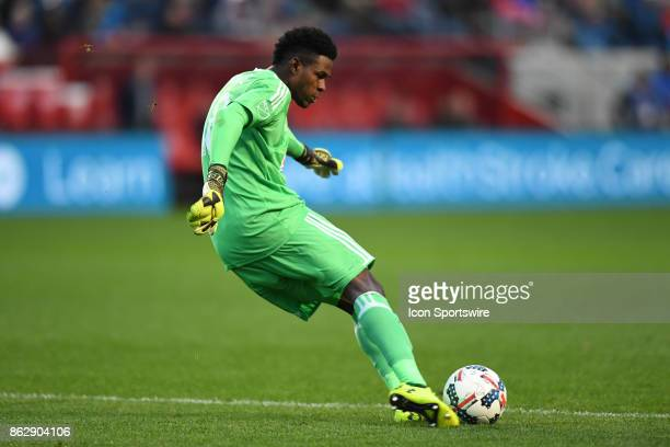 Philadelphia Union goalkeeper Andre Blake clears the ball during a game between the Philadelphia Union and the Chicago Fire on October 15 at Toyota...