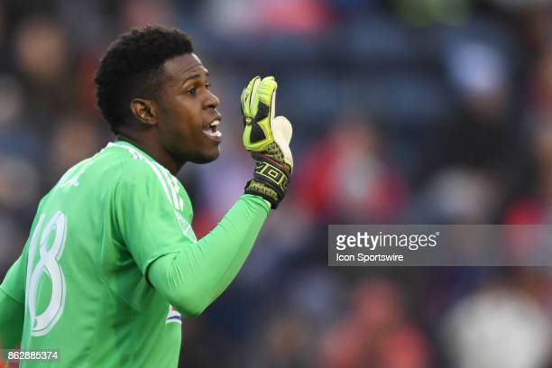 Philadelphia Union goalkeeper Andre Blake during a game between the Philadelphia Union and the Chicago Fire on October 15 at Toyota Park in...