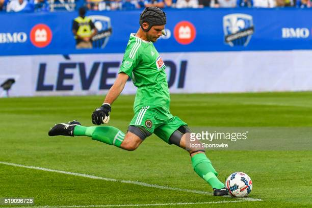 Philadelphia Union goalkeeper John McCarthy about to kick the ball during the Philadelphia Union versus the Montreal Impact game on July 19 at Stade...