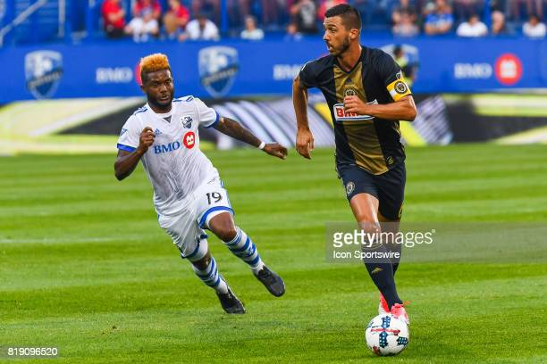 Philadelphia Union midfielder Haris Medunjanin running in control of the ball while Montreal Impact forward Michael Salazar is chasing him during the...