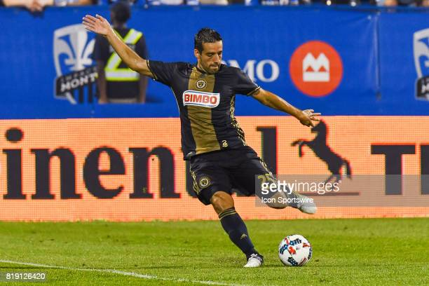 Philadelphia Union midfielder Ilsinho about to kick the ball during the Philadelphia Union versus the Montreal Impact game on July 19 at Stade Saputo...