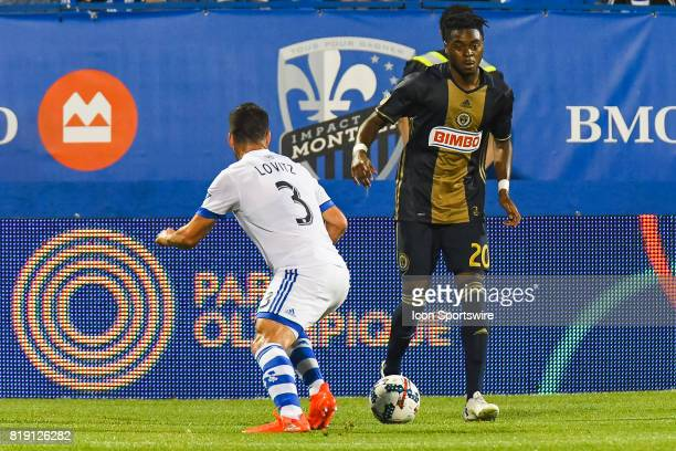 Philadelphia Union midfielder Marcus Epps controlling the ball in front of Montreal Impact defender Daniel Lovitz during the Philadelphia Union...