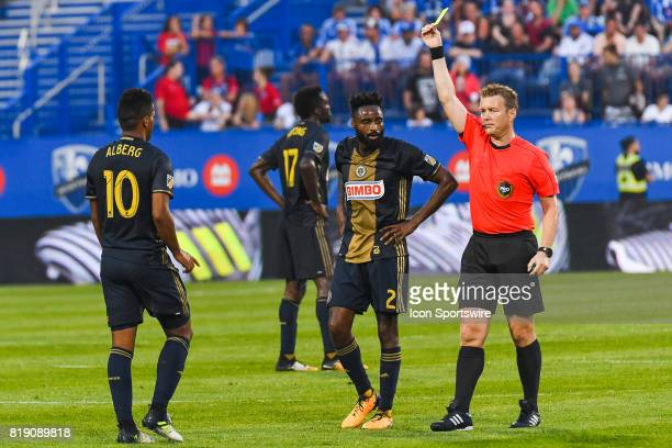 Philadelphia Union midfielder Roland Alberg getting a yellow card after a dangerous tackle during the Philadelphia Union versus the Montreal Impact...