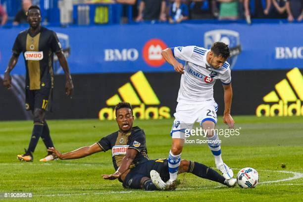 Philadelphia Union midfielder Roland Alberg tackling Montreal Impact midfielder Louis BelandGoyette during the Philadelphia Union versus the Montreal...