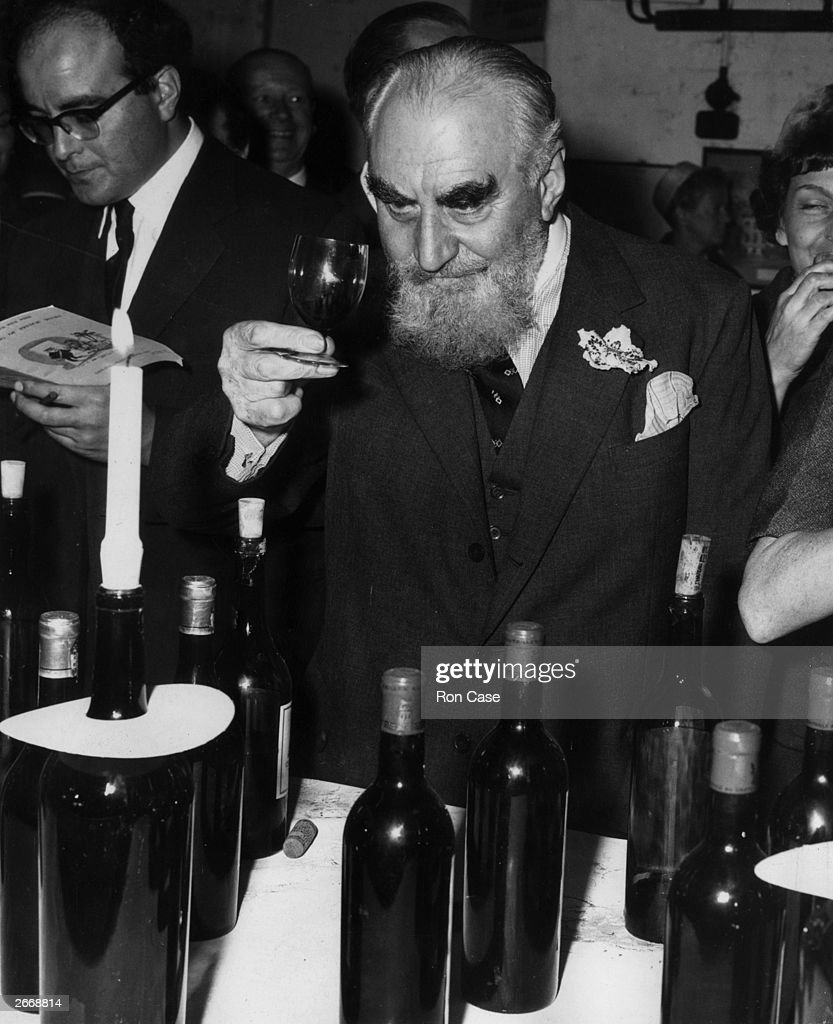 Philanthropist and bon viveur, Nubar Gulbenkian (Mr 10%) (1896 - 1972) at a wine tasting of French wines held at the Lebegue wine cellars, London Bridge.