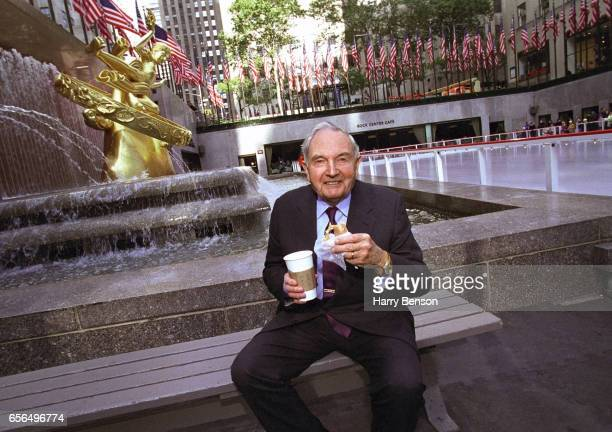 Philanthropist and Head of Chase Manhattan David Rockefeller is photographed for Harry Benson's book in 2002 at Rockefeller Center in New York City