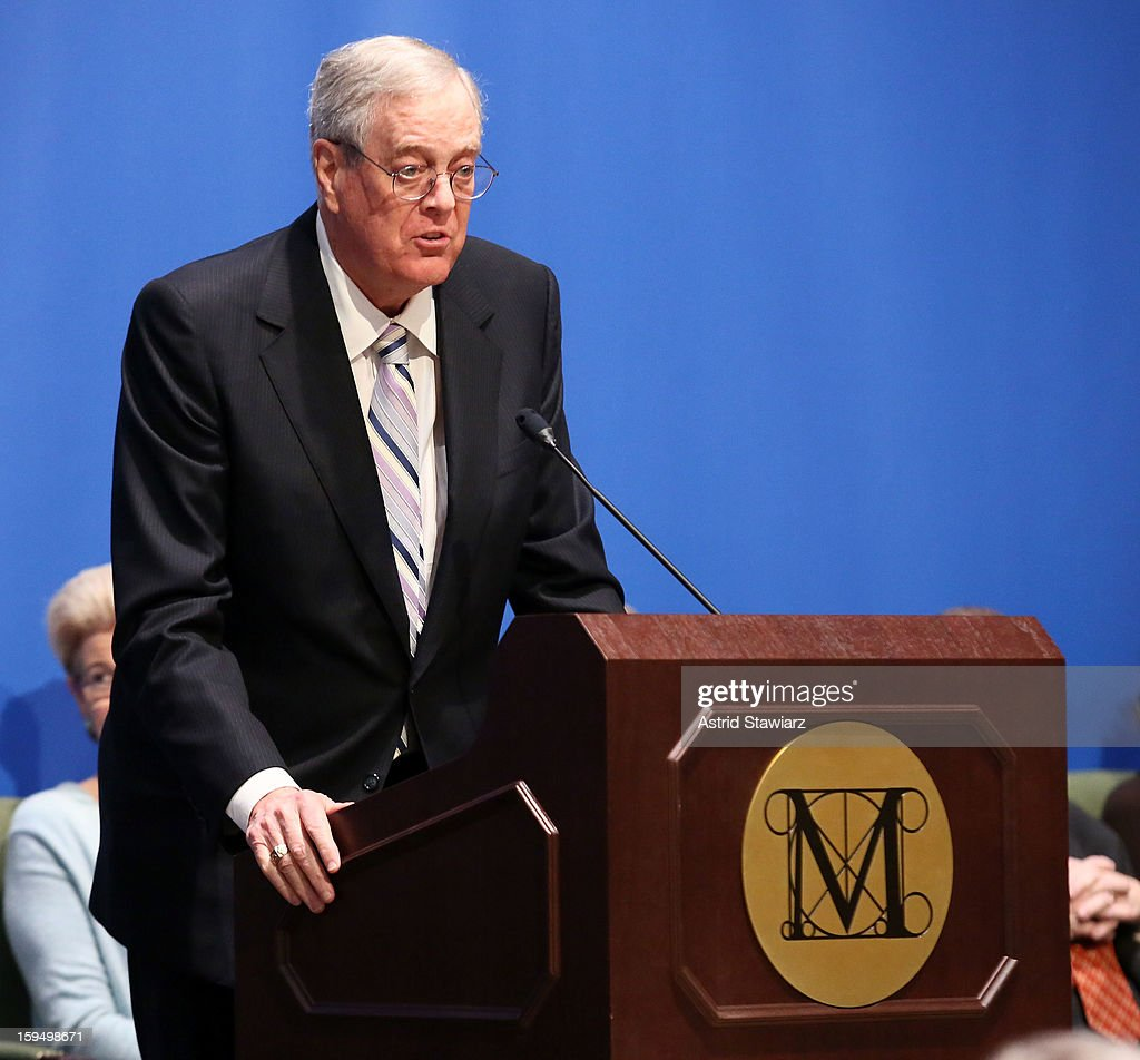 Philanthropist, David H. Koch speaks during the Fifth Avenue Plaza Groundbreaking at the Metropolitan Museum of Art on January 14, 2013 in New York City.