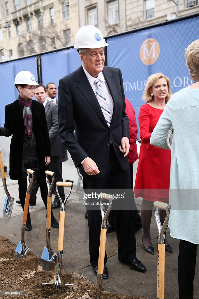 Philanthropist, David H. Koch (C) stands in the future site of the new David H. Koch Plaza during the Fifth Avenue Plaza Groundbreaking at the Metropolitan Museum of Art on January 14, 2013 in New York City.
