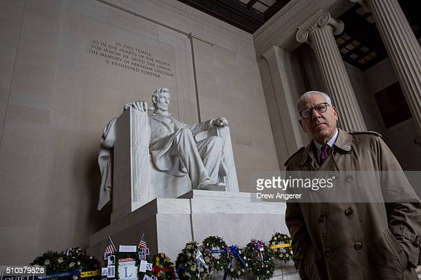 Philanthropist David Rubenstein tours the Lincoln Memorial February 15 2016 in Washington DC Rubenstein announced he is giving 18 million dollars to...
