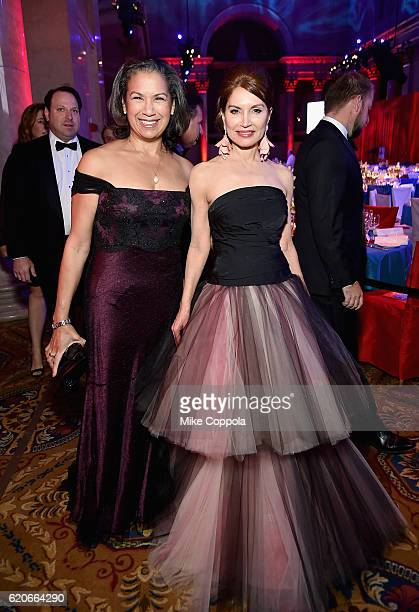 Philanthropist Jean Shafiroff and a guest attend the 15th Annual Elton John AIDS Foundation An Enduring Vision Benefit at Cipriani Wall Street on...
