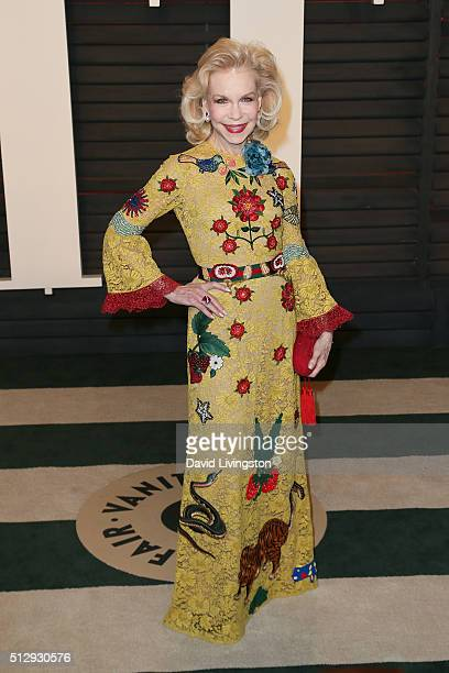 Philanthropist Lynn Wyatt arrives at the 2016 Vanity Fair Oscar Party Hosted by Graydon Carter at the Wallis Annenberg Center for the Performing Arts...