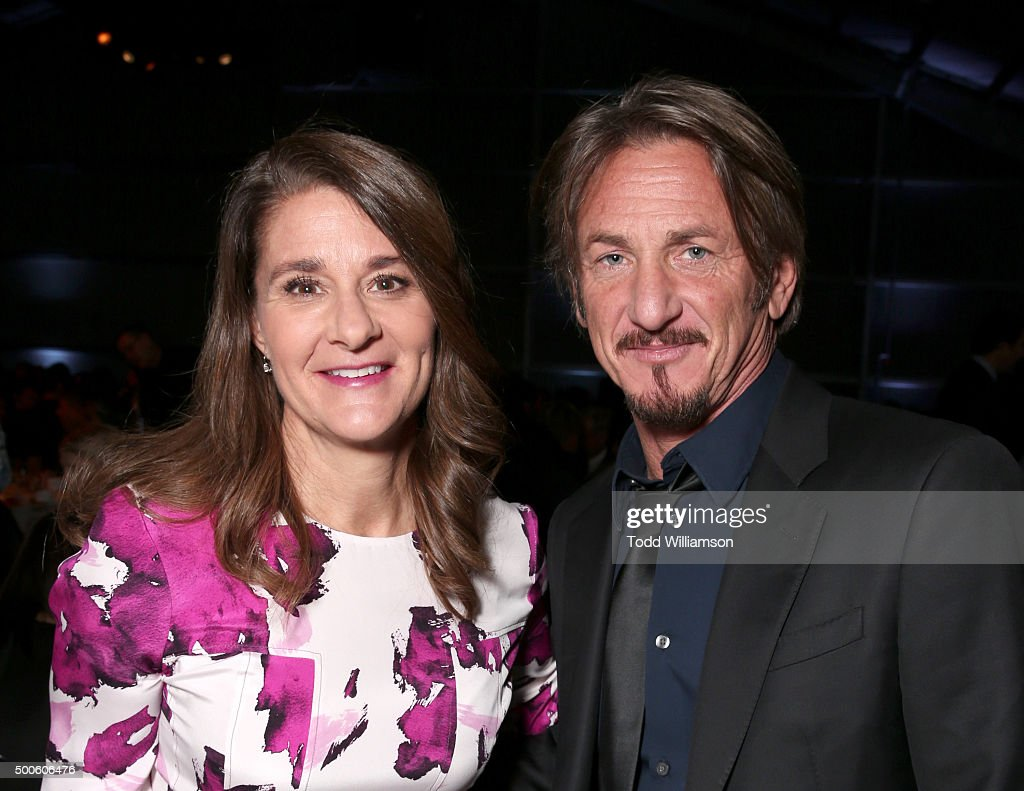 Philanthropist Melinda Gates and actor Sean Penn attend the 24th annual Women in Entertainment Breakfast hosted by The Hollywood Reporter at Milk...