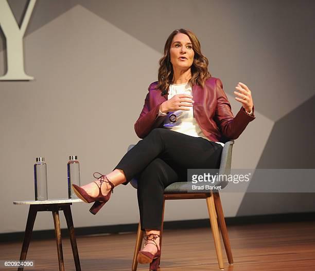 Philanthropist Melinda Gates speaks onstage during the Fast Company Innovation Festival 2016 Melinda Gates Facebook's Regina Dugan at Skirball Center...