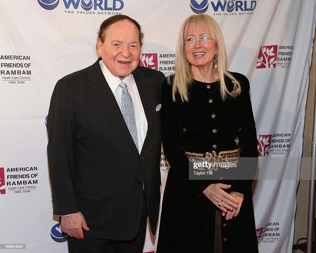 Philanthropist <a gi-track='captionPersonalityLinkClicked' href=/galleries/search?phrase=Sheldon+Adelson&family=editorial&specificpeople=539717 ng-click='$event.stopPropagation()'>Sheldon Adelson</a> and Dr. Miriam Adelson attend the Champion Of Jewish Values International Awards Gala at The New York Marriott Marquis on June 4, 2013 in New York City.