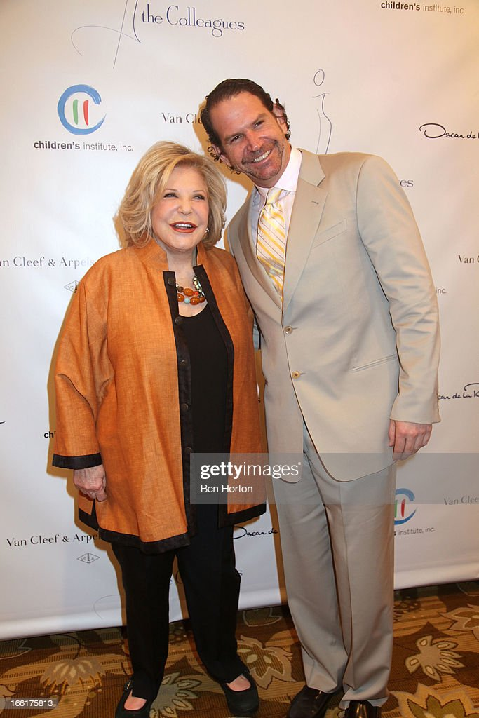 Philanthropist Wallis Annenberg and her son Charles Annenberg attend The Colleagues' 25th annual spring luncheon honoring Wallis Annenberg at the Beverly Wilshire Four Seasons Hotel on April 9, 2013 in Beverly Hills, California.