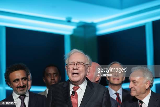 Philanthropist Warren Buffett speaks during the Forbes Media Centennial Celebration at Pier 60 on September 19 2017 in New York City