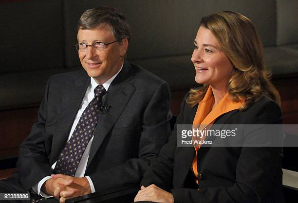 Philanthropists Bill and Melinda Gates are interviewed by Charles Gibson of 'World News' to discuss the 'Living Proof Project' on October 27 2009 in...