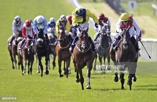 Philario ridden by Martin Lane leads the field to go on to win the Boylepokercom Handicap during the Boylesportscom Irish 2000 Guineas Day at Curragh...