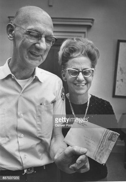 Philatelic Clerk Bruce Johnson And Mrs Violet Johnson Wonder They're speculating on contents of letter that took 50 years to reach mails Credit...