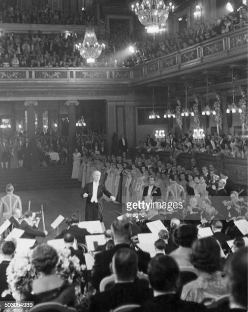 Philharmonic Ball in Vienna Wilhelm Furtwängler conducts the opening ceremony Vienna's Musikverein Photograph by Franz Hubmann 1950