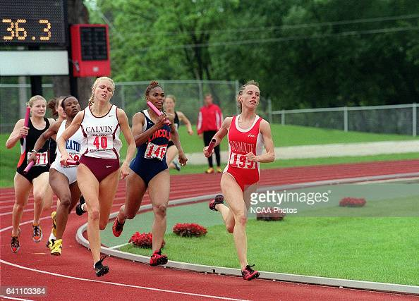 Philicia Moredock of Monmouth leads the pack in the 4x400 meter relay during the Division 3 Men's and Women's Track Championships held at North...