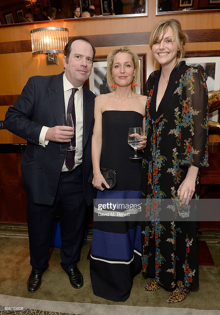 Philip Astor, Gillian Anderson and Sophie Dahl attend a dinner in honour of Justine Picardie to celebrate the book 'Dior by Avedon' at the Beaumont Hotel on January 19, 2016 in London, England.