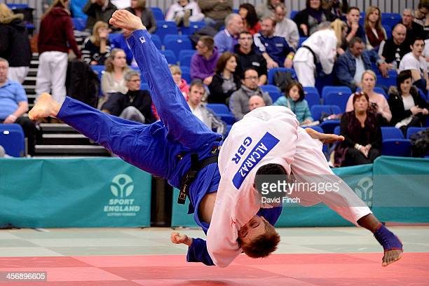 Philip AwitiAlcaraz throws William Lovell for a small score eventually winning their u100kg contest by an ippon during the British Senior Judo...