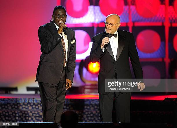 Philip Bailey and Phil Collins perform onstage during the 41st Annual Songwriters Hall of Fame Ceremony at The New York Marriott Marquis on June 17...