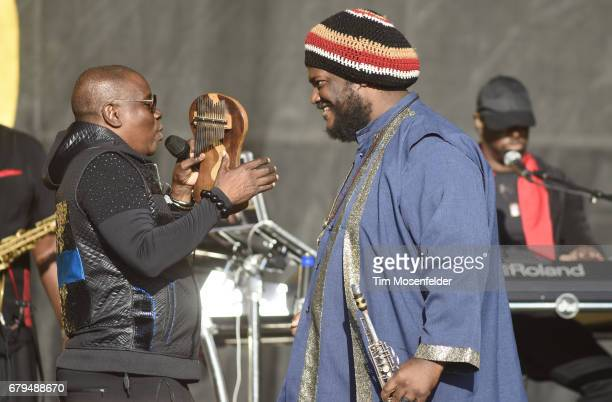 Philip Bailey of Earth Wind Fire and special guest Kamasi Washington perform during the 2017 New Orleans Jazz Heritage Festival at Fair Grounds Race...