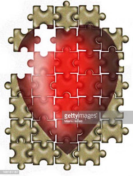 Philip Brooker color illustration of jigsaw puzzle with heart image EDITORS This illustration is part of a larger montage of hearts posted as HEART...