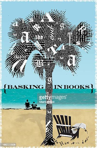 Philip Brooker color illustration of palm tree covered in words over chair and book on tropical beach titled 'Basking in Books'