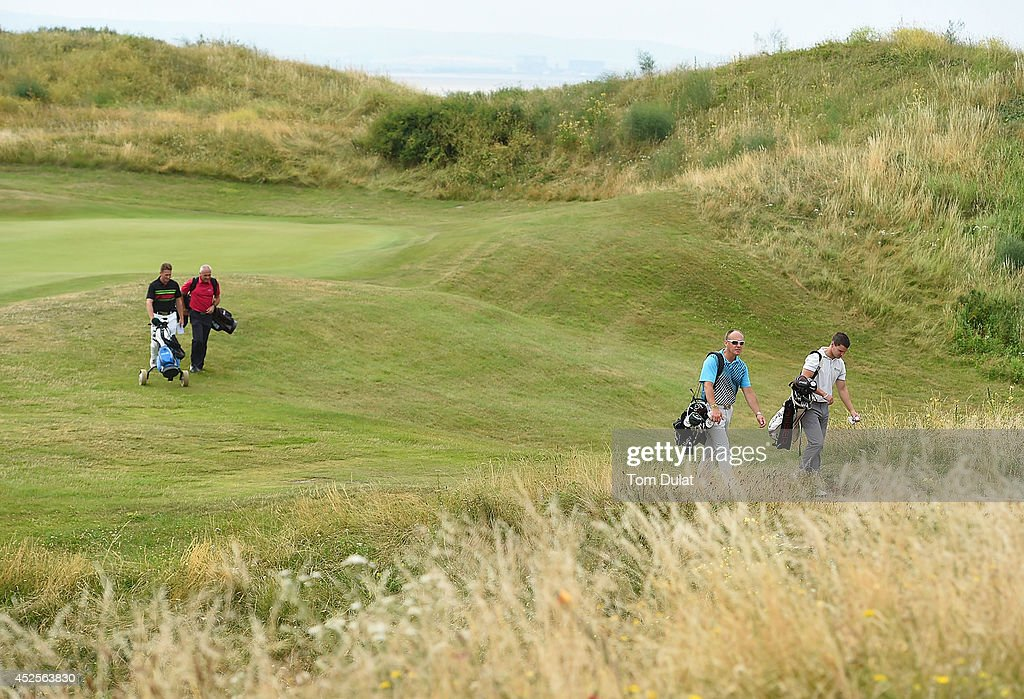 Philip Brookes, Mark Gregory, Tony Pitts and Danny Oliver during the Lombard Trophy West Regional Qualifier at Burnham and Berrow Golf Club on July 23, 2014 in Burnham-on-Sea, England.