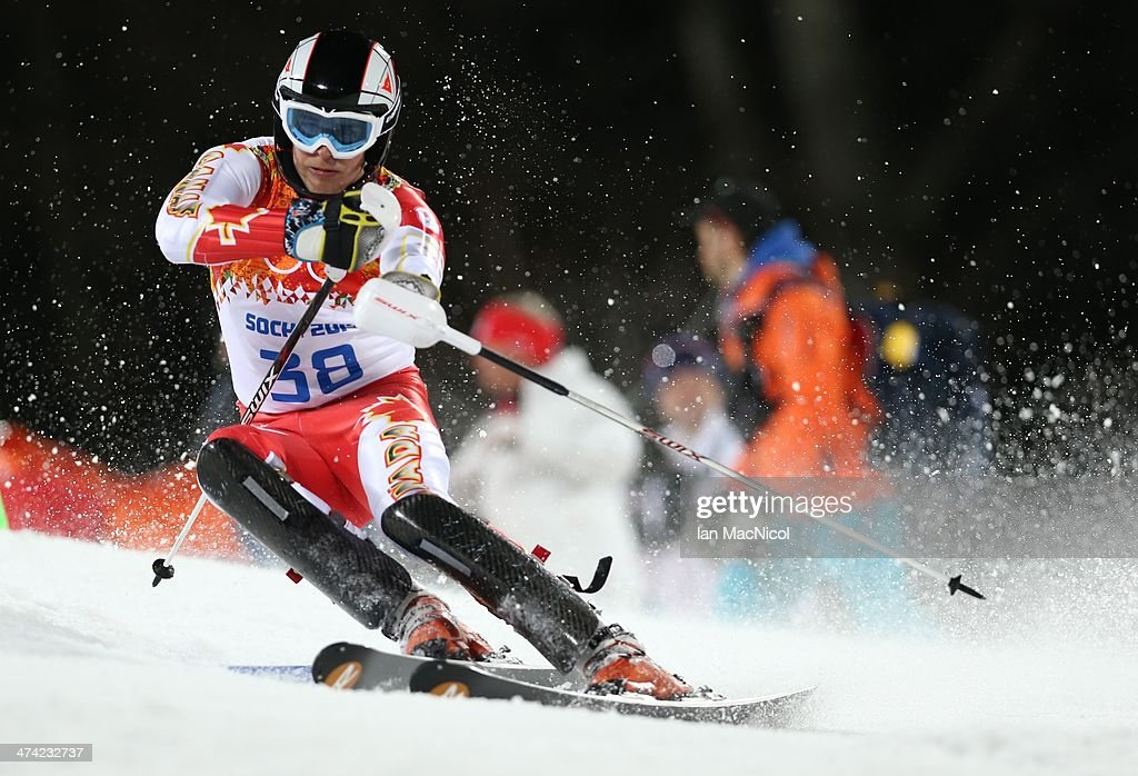 Philip Brown of Canada competes during the second run of the Men's Slalom on Day 15 of the Sochi 2014 Winter Olympics at Rosa Khutor Alpine Centre on February 22, 2014 in Sochi, Russia.