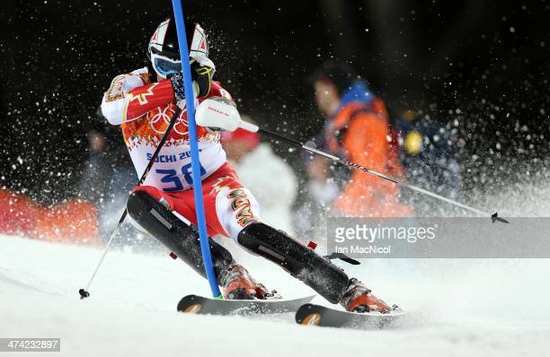 Philip Brown of Canada competes during the second run of the Men's Slalom on Day 15 of the Sochi 2014 Winter Olympics at Rosa Khutor Alpine Centre on...