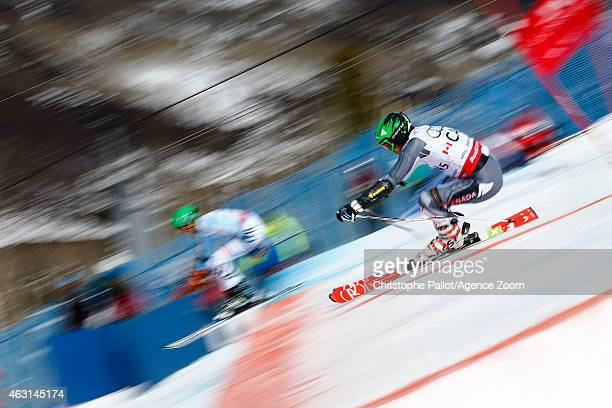 Philip Brown of Team Canada wins a silver medal during the FIS Alpine World Ski Championships Nations Team Event on February 10 2015 in Beaver Creek...